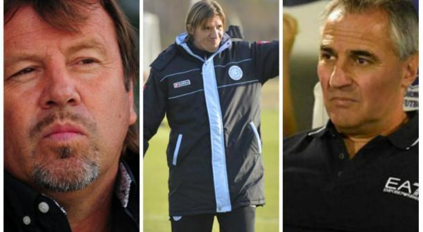 3 de los cuatro técnicos que llegó a tener Belgrano en 11 meses: El Ruso, Teté González y Madelón. Luego se sumaría el ex Godoy Cruz, Mendez. (Foto: Mundo D)