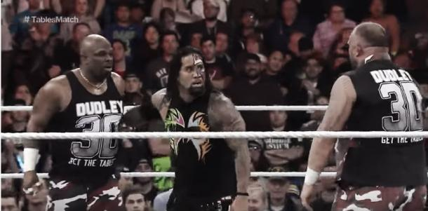 The Dudley Boyz attacked The Usos after their match (image: youtube.com)