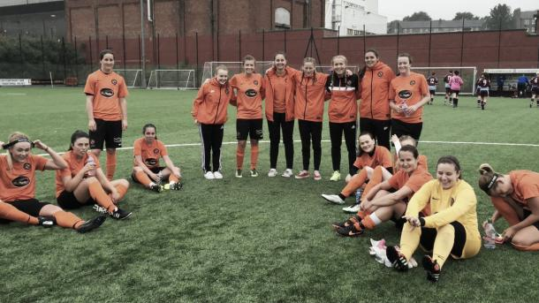 Dundee United's team after their win. Photo: Justine Mitchell's Twitter @justinedufc