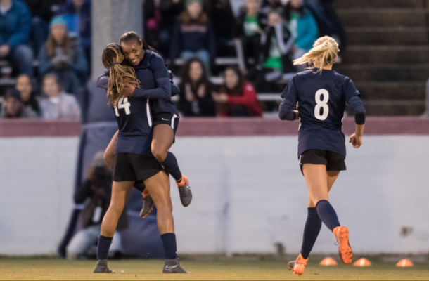 Jess McDonald and Crystal Dunn celebrate after they combined to score a goal in the 3-0 preseason victory over the Washington Spirit. | Photo: Sml_nc