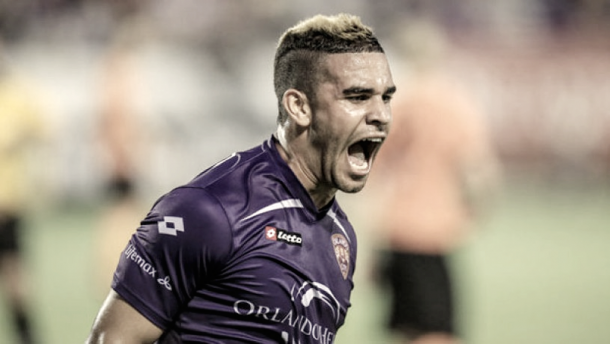 Dom Dwyer celebrating a goal during his loan spell in 2103. | Photo: Orlando City SC