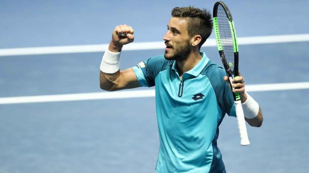 Dzumhur pumps his fist after reigning supreme at the St. Petersburg Open last year (Photo: ATP)