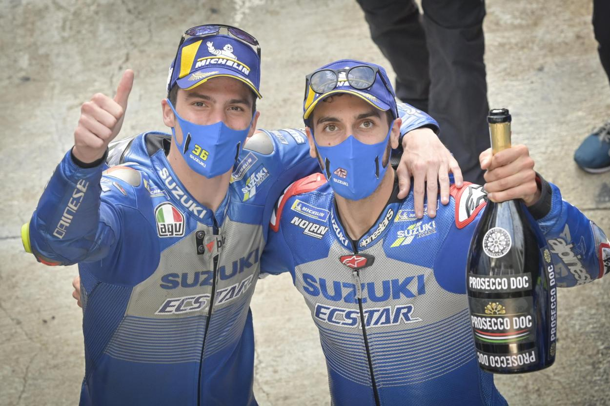 Alex Rins y Joan Mir lograron el primer doblete de Suzuki desde 2007 en Cataluña. Imagen: MotoGP