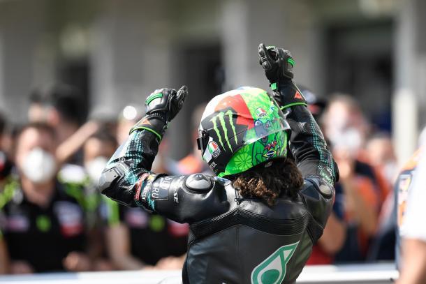 Morbidelli, celebrando su segundo puesto en carrera. Imagen: MotoGP