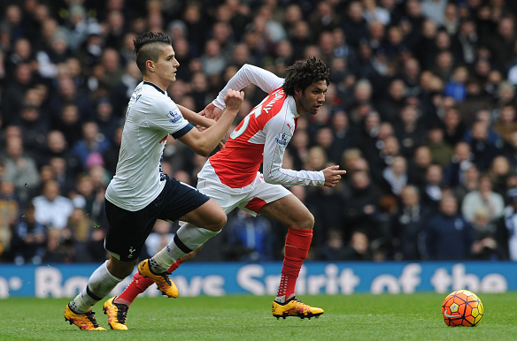 Elneny (pictured, far right) was effective in thwarting Erík Lamela's impact during last week's North London Derby, and will look to do so once more v Watford tomorrow | Image: Getty