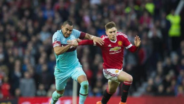 Varela battling for ball with Payet during United's FA Cup match with West Ham | Photo: Getty Images