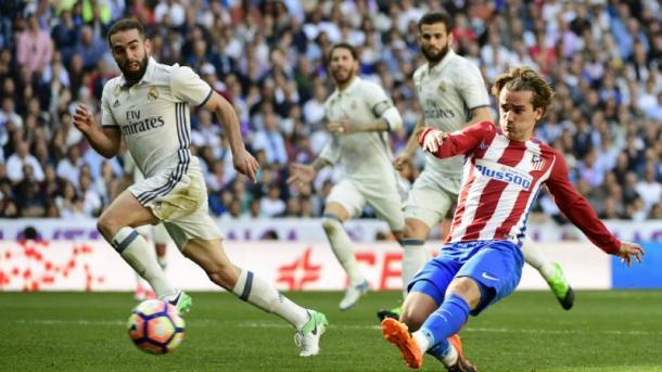 La zampata di Griezmann, a segno nel Derby madrileno (in Liga) appena due settimane fa. Fonte foto: Yahoo Sport