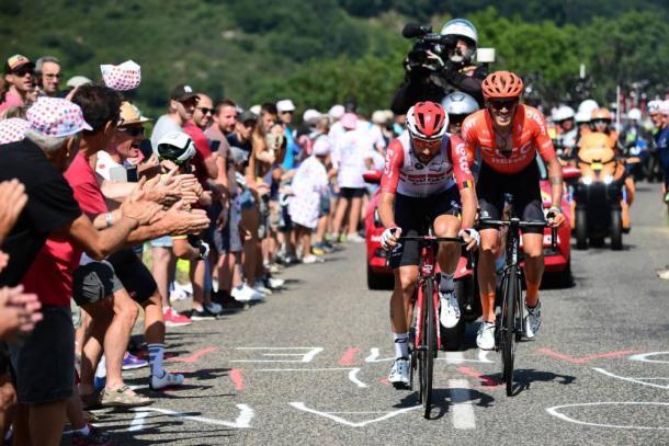 De Gendt dejó atrás a De Marchi para ganar la etapa en Saint-Ètienne. | Foto: LeTour