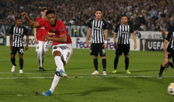É o primeiro gol de Martial após passar quase dois meses afastado dos gramados (Foto: Divulgação/Europa League)