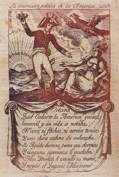 La resurrección política de América (1821). Alegoría del Imperio Mexicano (Imagen: Pinterest)