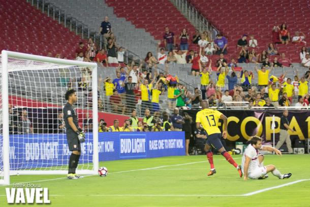 Ecuador's Enner Valencia celebrating his goal against Peru on June eighth at the University of Phoenix Stadium. Photo provided by VAVEL.