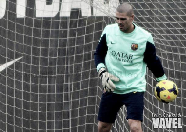 Valdés entrenando con el Barcelona I Fuente: Laia Cervelló