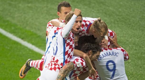 Croacia celebrando el 0-2. Fuente: CFF