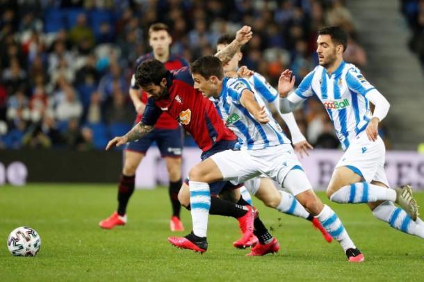 Imagen del último partido disputado entre Real Sociedad y Osasuna.