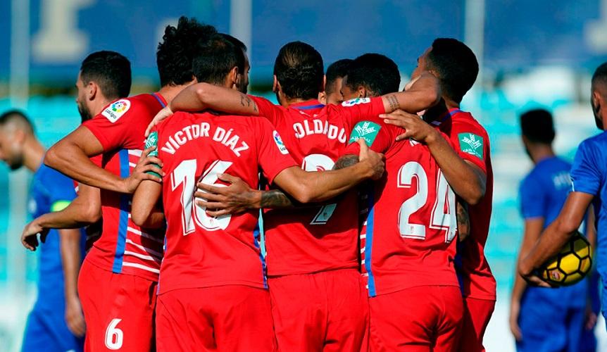 El Granada CF celebra el gol de Soldado   Foto: Pepe Villoslada / Granada CF