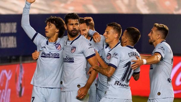 Celebrando uno de los goles de la victoria sobre Osasuna (0-5)