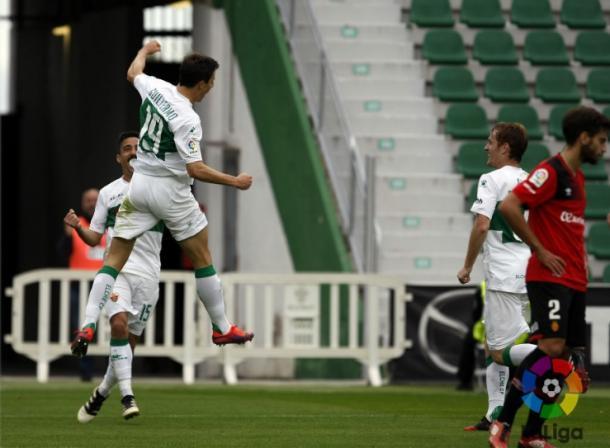 Guillermo celebrando el gol de la victoria ante el Mallorca.  Foto: La Liga