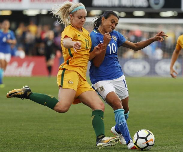 Carpenter is a rising star for the Matildas | Source: Daniel Munoz - AP
