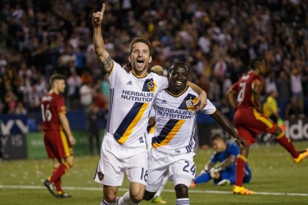 Mike Magee celebrating goal with Emmanuel Boateng as the duo combined for the second. | Photo: Los Angeles Galaxy
