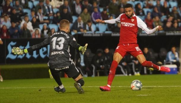 En Nesyri marcando el tanto sevillista   Foto: Sevilla FC
