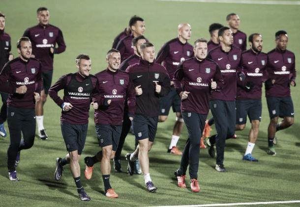 Phil Jagielka and Ross Barkley with the England squad last October. | Photo Alex Livesey/Getty Images