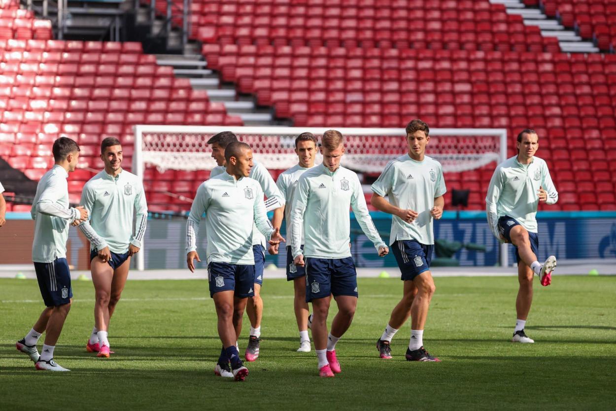 La selección española en el último entrenamiento./ Imagen: Twitter @SeFutbol