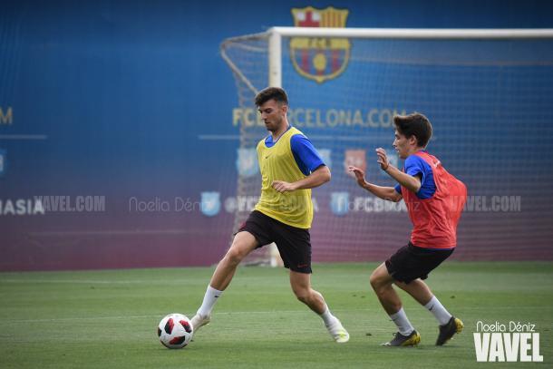 Calavera y Serrano entrenando en la Ciudad Deportiva. FOTO:Noelia déniz