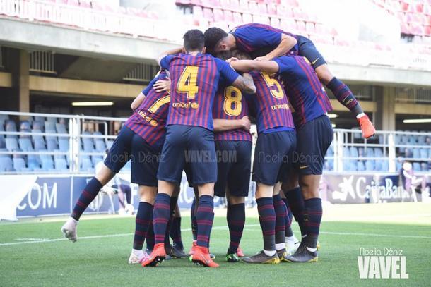 Jugadores del Barça B celebrando un gol. FOTO: Noelia Déniz