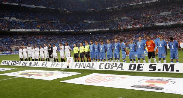 Getafe y Sevilla forman antes de disputar la final de Copa 2007 | Foto: Sevilla FC