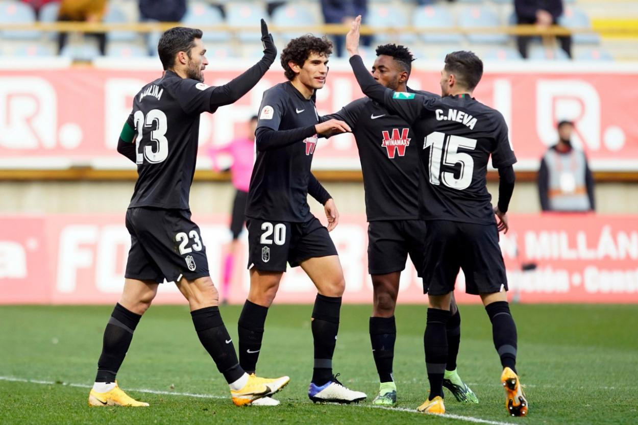 Los jugadores celebran el tanto del empate anotado por Jorge Molina. Foto: Pepe Villoslada/GCF