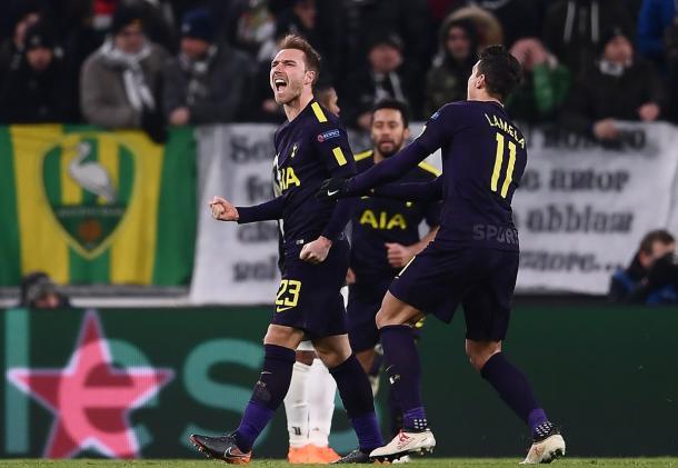 Christian Eriksen celebra el gol del empate. Foto: premierleague