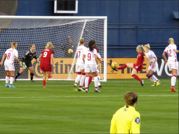 Ertz scored the second goal of the game by redirecting the ball over the Danish goalkeeper. | @ReignOfAnnie21