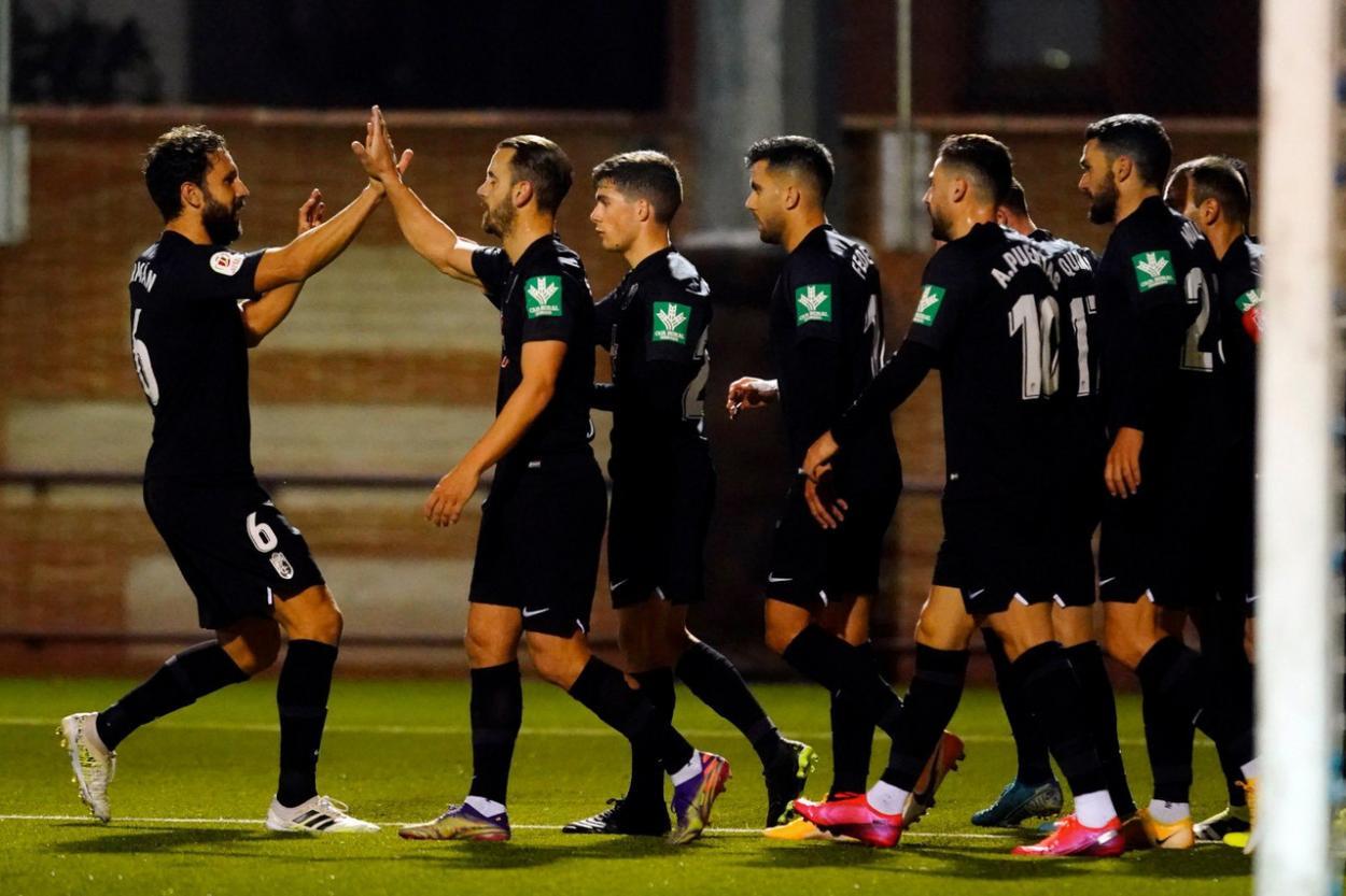 Los jugadores del Granada celebran uno de los goles en el Mariano González. Foto: Pepe Villoslada/GCF