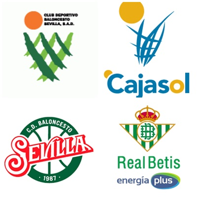 Los cuatro escudos que ha portado el club durante sus 28 años en ACB