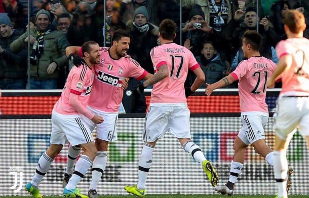 L'esultanza dei bianconeri dopo un gol all'Udinese nella scorsa stagione | twitter