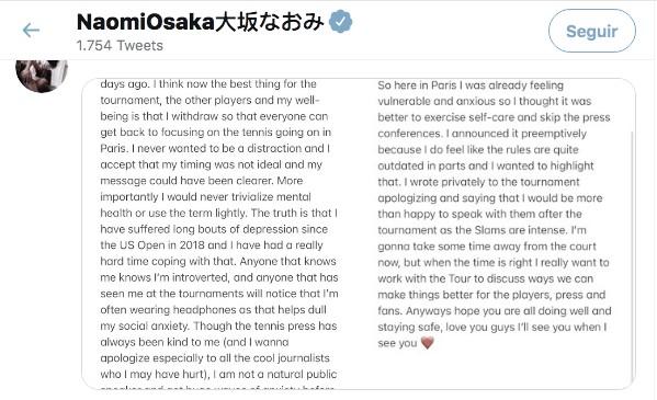  Comunicado oficial de Naomi Osaka Twitter @naomiosaka