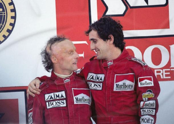 Lauda e Prost no GP de Portugal em 1984 (Foto: Reprodução / McLaren)
