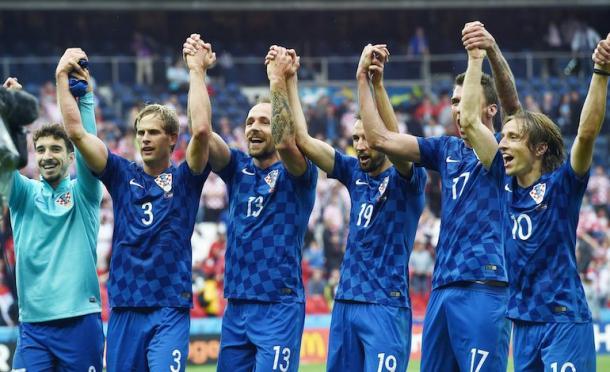 L'esultanza croata al termine del match con la Turchia