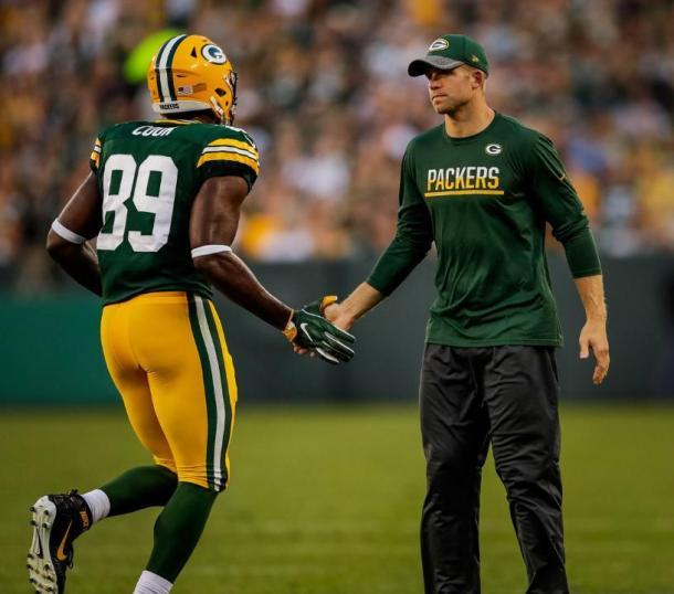 Retornando da lesão que o tirou de toda a última temporada, Jordy Nelson chegou a participar do aquecimento, mas não atuou | Foto: Evan Siegle/Packers.com