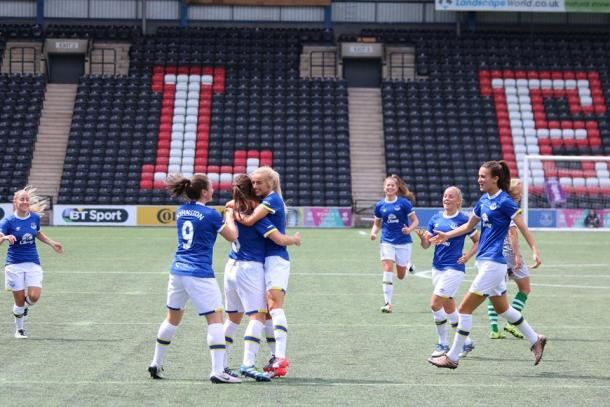 Smiles all around as Everton best Yeovil in Widnes (Photo credit: Everton Ladies FC)