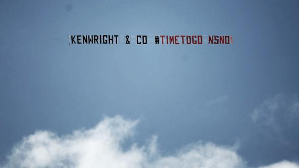 Everton fans flew a plane with a banner calling for Bill Kenwright to leave earlier this season.