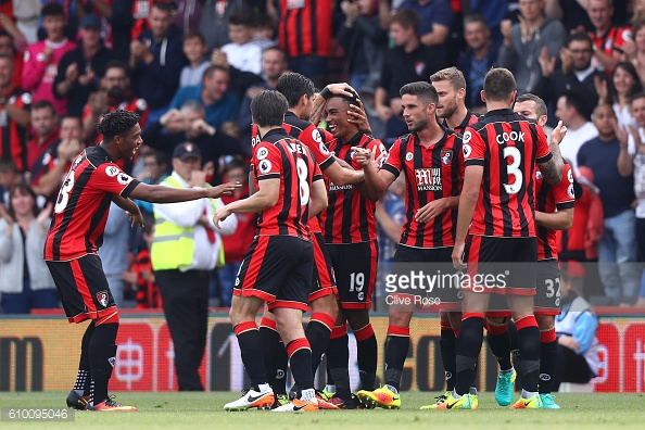 Junior Stanislas celebrates scoring his sides first goal with his team mates. | Photo: Clive Rose/Getty Images