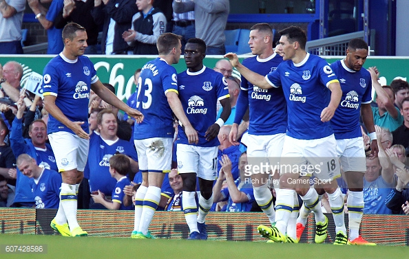 Everton's Gareth Barry is congratulated by team mates after scoring his sides equalising goal against Middlesbrough last weekend. | Photo: Rich Linley/CameraSport via Getty Images