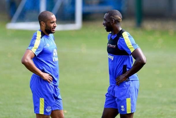 Ashley Williams and Yannick Bolasie in training ahead of the West Brom match. | Photo: Everton FC