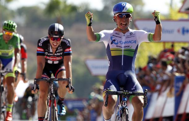 Caleb Ewan celebra su victoria en el Vuelta 2015 | Fotografía: Vuelta a España