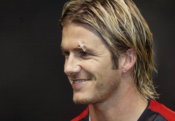 Beckham con el polémico corte en la ceja. Foto: Richard Pelham