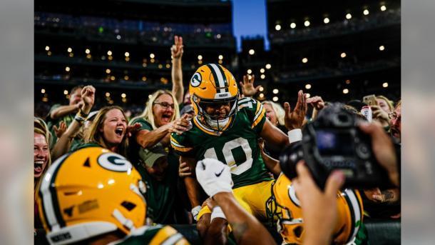 Darrius Shepherd festejando su primer touchdown en la NFL (foto: www.packers.com))
