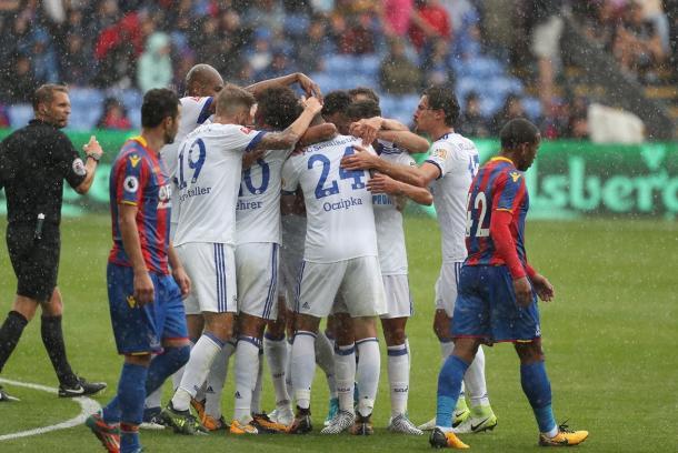 Los jugadores del Shalke celebrando el gol de Insua. Fuente: Shalke