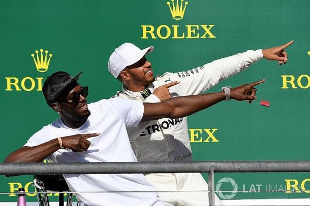 Lewis Hamilton y Usain Bolt en el GP de EEUU. Fuente: Getty Images