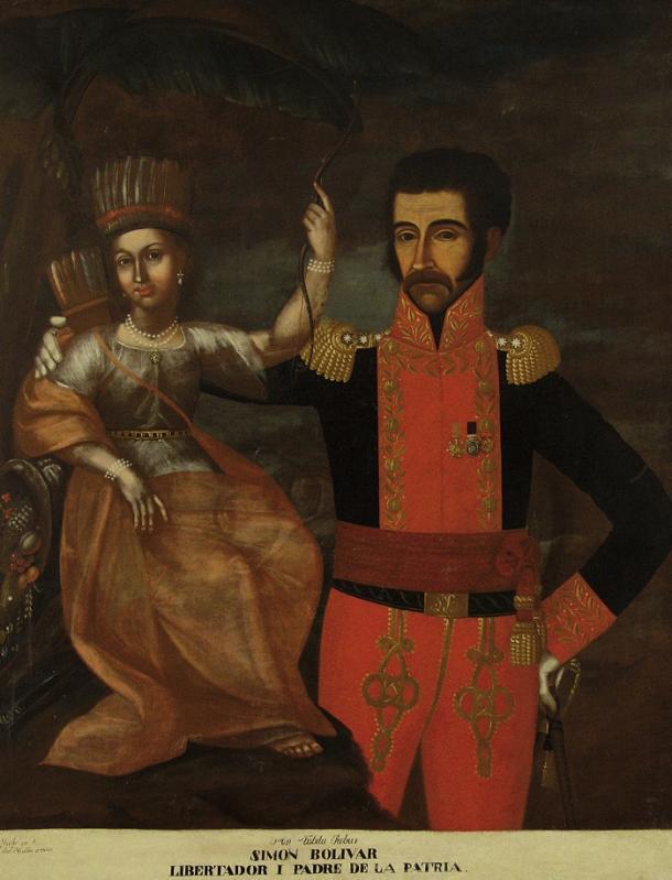 Bolívar con la América India (1819), de Pedro José de Figueroa (1770 -1836). Imagen: Pinterest
